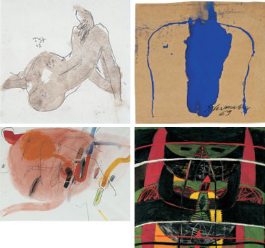 • Toni Stadler<br>Rückenakt (nude from behind), 1967<br>(above left)<br>• Emil Schumacher<br>Blauer Kopf (blue head), 1969<br>(above right)<br>• Horst Antes<br>Ohne Titel (untiteled), 1960<br>(below left)<br>• Heimrad Prem<br>Sich erneuernde Göttin (self-renewing goddess), 1964 <br>(below right)